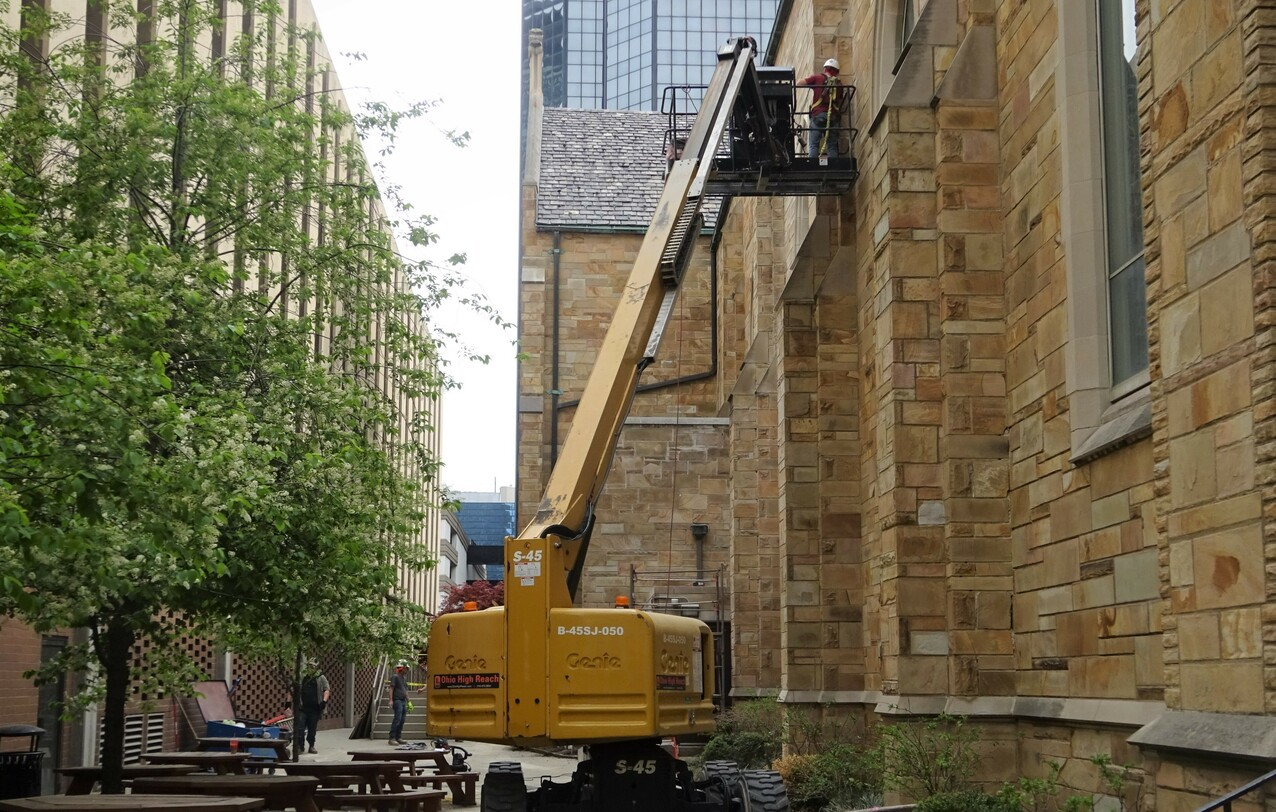 Extensive exterior renovation work underway on Cathedral of St. John the Evangelist